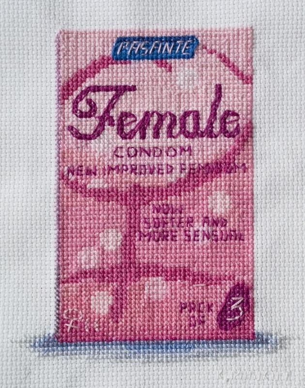 Katrina Majkut, Female Condom, Thread and Cross Stitch Fabric, 2014