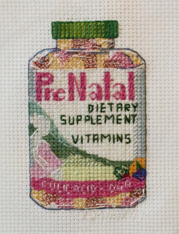 Katrina Majkut, PreNatal Vitamins, Thread and Cross Stitch Fabric, 2014